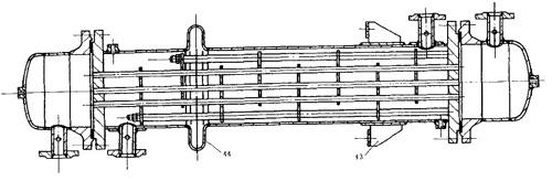 2) 浮头换热器                结构:两端管板中只
